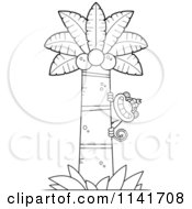 Cartoon Clipart Of A Black And White Monkey Behind A Coconut Palm Tree Vector Outlined Coloring Page