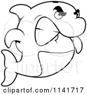 Cartoon Clipart Of A Black And White Angry Dolphin Gritting His Teeth Vector Outlined Coloring Page