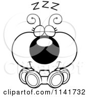 Cartoon Clipart Of A Black And White Ant Sleeping Vector Outlined Coloring Page