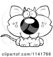 Cartoon Clipart Of A Black And White Cute Chupacabra Vector Outlined Coloring Page by Cory Thoman