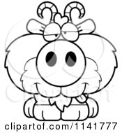 Cartoon Clipart Of A Black And White Goofy Goat Sitting Vector Outlined Coloring Page