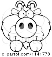 Cartoon Clipart Of A Black And White Cute Goat Looking Over A Surface Vector Outlined Coloring Page