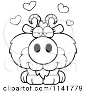 Cartoon Clipart Of A Black And White Cute Goat In Love Vector Outlined Coloring Page