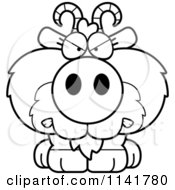 Cartoon Clipart Of A Black And White Mad Goat Vector Outlined Coloring Page