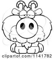 Cartoon Clipart Of A Black And White Depressed Goat Vector Outlined Coloring Page