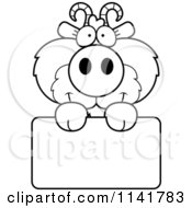 Cartoon Clipart Of A Black And White Cute Goat Holding A Sign Vector Outlined Coloring Page
