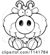 Cartoon Clipart Of A Black And White Cute Goat Sitting Vector Outlined Coloring Page