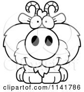 Cartoon Clipart Of A Black And White Cute Goat Vector Outlined Coloring Page