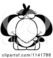 Cartoon Clipart Of A Black And White Drunk Penguin Chick Vector Outlined Coloring Page