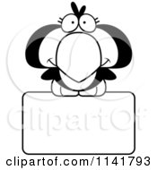 Cartoon Clipart Of A Black And White Cute Penguin Chick Over A Sign Vector Outlined Coloring Page