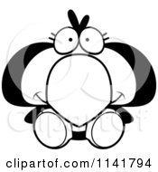 Cartoon Clipart Of A Black And White Cute Penguin Chick Sitting Vector Outlined Coloring Page