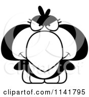 Cartoon Clipart Of A Black And White Mean Penguin Chick Vector Outlined Coloring Page