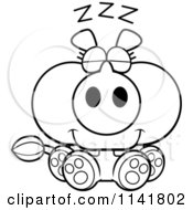 Cartoon Clipart Of A Black And White Sleeping Rhino Vector Outlined Coloring Page
