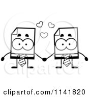 Cartoon Clipart Of Black And White Business Document Mascots Holding Hands Vector Outlined Coloring Page