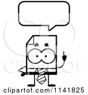 Cartoon Clipart Of A Black And White Business Document Mascot Talking Vector Outlined Coloring Page