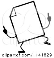 Cartoon Clipart Of A Black And White Blank Document Mascot Doing A Happy Dance Vector Outlined Coloring Page