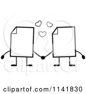Cartoon Clipart Of Black And White Blank Document Mascots Holding Hands Vector Outlined Coloring Page
