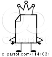 Cartoon Clipart Of A Black And White Blank Document Mascot King Vector Outlined Coloring Page
