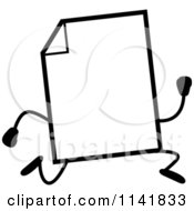 Cartoon Clipart Of A Black And White Blank Document Mascot Running Vector Outlined Coloring Page