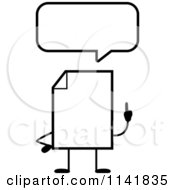 Cartoon Clipart Of A Black And White Blank Document Mascot Talking Vector Outlined Coloring Page