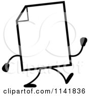 Cartoon Clipart Of A Black And White Blank Document Mascot Walking Vector Outlined Coloring Page