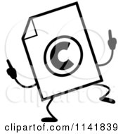 Cartoon Clipart Of A Black And White Copyright Document Mascot Doing A Happy Dance Vector Outlined Coloring Page