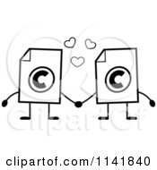Cartoon Clipart Of Black And White Copyright Document Mascots Holding Hands Vector Outlined Coloring Page