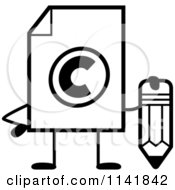 Cartoon Clipart Of A Black And White Copyright Document Mascot Holding A Pencil Vector Outlined Coloring Page