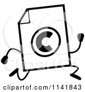Cartoon Clipart Of A Black And White Copyright Document Mascot Running Vector Outlined Coloring Page