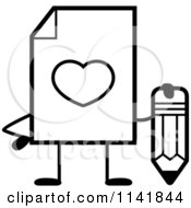 Cartoon Clipart Of A Black And White Love Document Mascot Holding A Pencil Vector Outlined Coloring Page