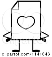 Cartoon Clipart Of A Black And White Love Document Mascot With Hands On Hips Vector Outlined Coloring Page