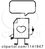 Cartoon Clipart Of A Black And White Love Document Mascot Talking Vector Outlined Coloring Page