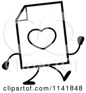 Cartoon Clipart Of A Black And White Love Document Mascot Walking Vector Outlined Coloring Page