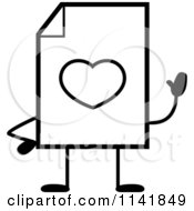 Cartoon Clipart Of A Black And White Love Document Mascot Waving Vector Outlined Coloring Page
