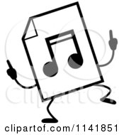 Cartoon Clipart Of A Black And White MP3 Music Document Mascot Doing A Happy Dance Vector Outlined Coloring Page by Cory Thoman