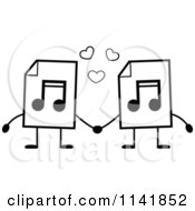 Cartoon Clipart Of Black And White MP3 Music Document Mascots Holding Hands Vector Outlined Coloring Page by Cory Thoman