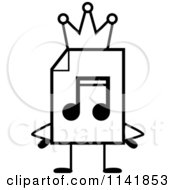 Cartoon Clipart Of A Black And White MP3 Music Document Mascot King Vector Outlined Coloring Page by Cory Thoman