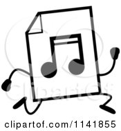 Cartoon Clipart Of A Black And White MP3 Music Document Mascot Running Vector Outlined Coloring Page by Cory Thoman