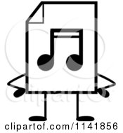 Cartoon Clipart Of A Black And White MP3 Music Document Mascot With Hands On Hips Vector Outlined Coloring Page by Cory Thoman