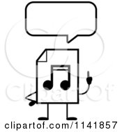 Cartoon Clipart Of A Black And White MP3 Music Document Mascot Talking Vector Outlined Coloring Page by Cory Thoman