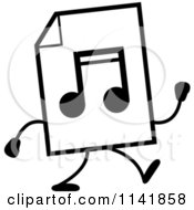 Cartoon Clipart Of A Black And White MP3 Music Document Mascot Walking Vector Outlined Coloring Page by Cory Thoman