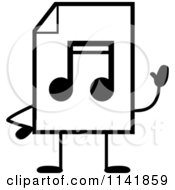 Cartoon Clipart Of A Black And White MP3 Music Document Mascot Waving Vector Outlined Coloring Page by Cory Thoman