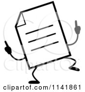 Cartoon Clipart Of A Black And White Note Document Mascot Doing A Happy Dance Vector Outlined Coloring Page