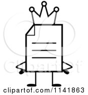 Cartoon Clipart Of A Black And White Note Document Mascot King Vector Outlined Coloring Page