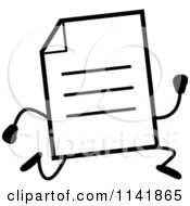 Cartoon Clipart Of A Black And White Note Document Mascot Running Vector Outlined Coloring Page