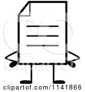 Cartoon Clipart Of A Black And White Note Document Mascot With Hands On Hips Vector Outlined Coloring Page