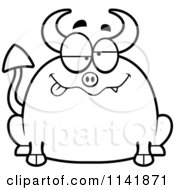 Cartoon Clipart Of A Black And White Chubby Drunk Devil Vector Outlined Coloring Page
