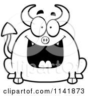 Cartoon Clipart Of A Black And White Chubby Grinning Devil Vector Outlined Coloring Page