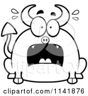 Cartoon Clipart Of A Black And White Chubby Panicking Devil Vector Outlined Coloring Page