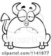 Cartoon Clipart Of A Black And White Chubby Sad Devil Vector Outlined Coloring Page